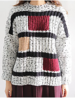 Damen Standard Pullover-Lässig/Alltäglich Einfach Gestreift Blau / Weiß Rundhalsausschnitt Langarm Acryl Frühling / Herbst Mittel