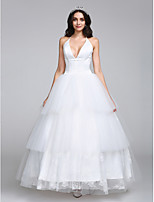 Lanting Bride® A-line Wedding Dress Ankle-length Halter Satin / Tulle with Lace