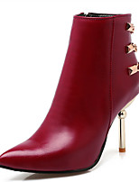 Women's Shoes Stiletto Heel Pointed Toe Chain Zip Ankle Boot More Color Available