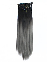Clip In Hair Extensions 7Pcs/Set Ombre Synthetic Hairpieces Slice Straight 22Inch 56cm Gradient Ramp Color Black-Gray