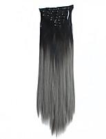 grampo em extensões de cabelo 7pcs / set apliques sintéticos ombre fatia 22inch em linha reta gradiente de 56 centímetros de cor rampa