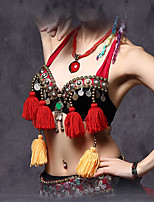 Belly Dance Tops Women's Performance Cotton / Polyester Beading / Coins / Tassel(s) 1 Piece Black Tribe Bra