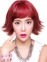 28cm Fuxia Color Curly Short Wigs for Women 2016 New Fashion Heat Resistant Synthetic Wigs