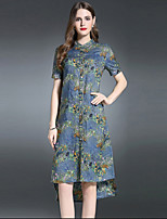 ES·DANNUO Women's Sophisticated Print Sheath Dress,Stand Asymmetrical Linen