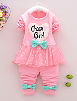 Girl's Cotton Spring/Autumn Casual Bowknot Cartoon Patchwork Long Sleeve T Shirt And Pants Two-piece Set