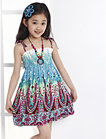 Girl's Casual/Daily Print Dress,Cotton Summer Blue / Orange / Pink