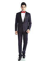 Tuxedos Tailored Fit Peak Single Breasted One-button Viscose/ Wool & Polyester Blended Solid 2 Pieces Purple