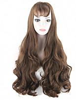 largo manera pelucas las mujeres onduladas de fibra resistente al calor lolita gótico de color marrón oscuro peluca pelos