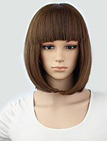 Light Brown Short Wig Women's Cute Fringe Straight Bob Cosplay Wig Heat Resistant Full Hair Blonde Short Wig