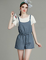 Boutique S Women's Casual/Daily Street chic Summer Set Pant,Solid Round Neck Short Sleeve Cotton / Polyester Thin