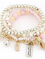 Bracelets Wrap 1pc,A la Mode Forme Ronde Taies / Beige / Vert clair / Noir / Orange / Incarnadin Alliage Bijoux Cadeaux