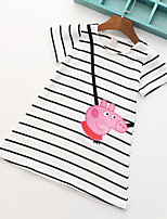 Baby Girls Casual/Daily Cotton Pink Peppa Pig Striped Dress, Cotton Summer