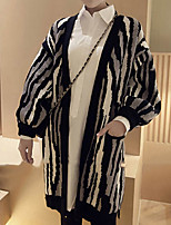 Women's Going out / Casual/Daily Simple Long Cardigan,Animal Print Black Halter Long Sleeve Acrylic Fall / Winter Medium