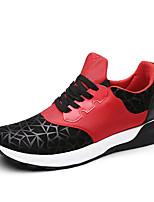 Masculino-Tênis-Conforto-Rasteiro-Preto / Azul / Preto e Vermelho-Couro-Ar-Livre / Casual / Para Esporte