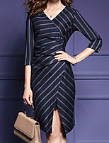 Women's Casual/Daily Simple Sheath Dress,Striped V Neck Knee-length ¾ Sleeve Black Polyester Summer / Fall