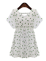Women's Going out / Plus Size Simple / Cute Loose Dress,Print Round Neck Above Knee Short Sleeve White Cotton / Polyester Summer Mid Rise