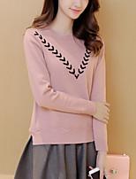 Damen Standard Pullover-Lässig/Alltäglich Einfach Druck Beige / Schwarz / Lila Rundhalsausschnitt Langarm Nylon Herbst Mittel