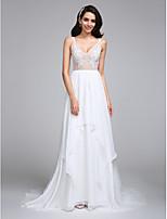 A-라인 웨딩 드레스 코트 트레인 V-넥 쉬폰 와 아플리케