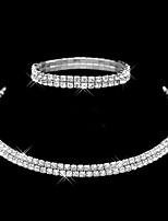 Women's Full Crystal Choker Necklace Tennis Stretch Bracelet Wedding Jewelry Set(2 pc)