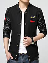 Men's Long Sleeve Casual Jacket,Cotton / Polyester Print / Solid / Patchwork Black hxtx-6851