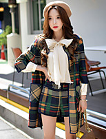 Women's Daily / Work Vintage / Sophisticated Trench CoatColor Block / Plaid Crew Neck  Sleeve