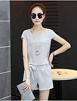 Women's Going out Simple Summer T-shirt Pant,Solid Round Neck Short Sleeve Pink / Gray Cotton / Polyester Medium