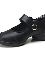 Non Customizable Women's Dance Shoes Leather Leather Dance Sneakers Sneakers Chunky Heel Practice / Beginner Black / Red