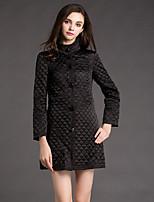 Boutique S Women's Solid Black Padded CoatSimple Turtleneck Long Sleeve