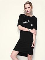 ARNE® Women's Round Neck Short Sleeve Shirt & Blouse Black / Gray-B019