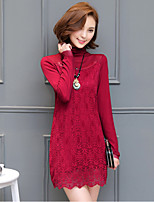 Women's Plus Size Street chic Sheath Dress,Patchwork Turtleneck Above Knee Long Sleeve Red / Black Polyester Fall