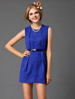 verträumten Land Frauen blau / orange Polyester Gehen des netten Etuikleid, fest um den Hals Mini ärmel