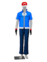 Ispirato da Pocket Monster Ash Ketchum Anime Costumi Cosplay Abiti Cosplay Monocolore Bianco / Blu Maniche corteTop / Pantaloni /