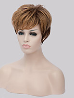 Capless Mix Color Extra Short High Quality Natural Straight Hair Synthetic Wig with Side Bang