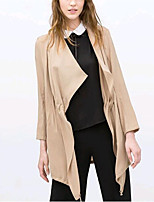 Women's Going out Street chic Trench Coat,Solid V Neck Long Sleeve Spring / Fall Yellow Cotton / Spandex Medium