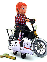 Novelty Toy  Pretend Play Puzzle Toy  Wind-up Toy Novelty Toy  Dog  Motorcycle Metal White For Kids