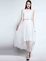 Mary Yan & Yu  Women's Going out Simple Loose / Sheath Dress,Solid Round Neck Maxi Sleeveless White Rayon Spring / Summer