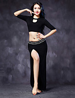 Belly Dance Outfits Women's Performance Modal Split Front 2 Pieces Black / Green / Burgundy / Gray Half Sleeve No Belt