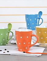 De estilo europeo puntos de cerámica taza de café taza de la taza par de tazas para el hogar (color al azar)