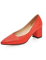 Women's Heels Summer /Pointed Toe PU Office & Career / Casual Chunky Heel Sequin Black / Red / Silver / Gold Others