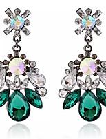 2016 New Arrival Vintage Green Crystal Drop Earrings Jewelry Bohemian Flower Long Earrings For Womren