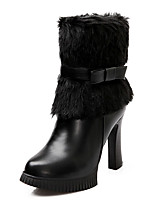 Women's Boots Fall / Winter Fashion Boots / Round Toe Dress Chunky Heel Zipper Black / White / Almond Others