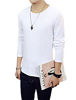 Men's Solid Casual T-Shirt,Cotton Long Sleeve-Black / Blue / Brown / Multi-color / Purple / Red / White / Gray SLS-T2433
