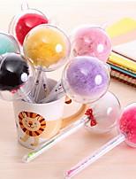 Creative Cute Fur Ball Pen Needle Tube Pen Plush Gel Pen (Random Color)