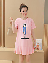 Maternity Casual/Daily Simple Loose Dress,Print Round Neck Above Knee Short Sleeve Pink / Black Polyester Summer