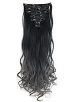 dois tons de grampo de cabelo ombre em extensões do cabelo 7pcs 130g corpo clipe ondulado dip dye em extensões do cabelo preto para cabelo