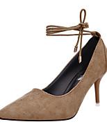 Damen-High Heels-Lässig-Wildleder-Niedriger Absatz-Komfort-Schwarz / Rot / Khaki