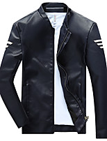 Men's Casual / Casual/Daily Simple Leather Jackets,Solid Scalloped Long Sleeve Fall / Winter Blue / Red / Black / YellowPU / Cotton /