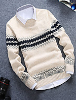 Men's Striped Casual Pullover,Rabbit Fur Long Sleeve Blue / White / Gray