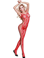 Women Strappy Shoulder Open Crotch Bodystocking