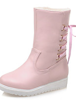 Women's Shoes Leatherette Winter Snow Boots Boots Dress / Casual Flat Heel -up Black / Pink / Beige